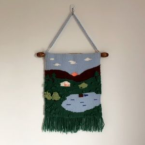 Wall art decor - yarn/wool house image with mountains sun and lakes with trees
